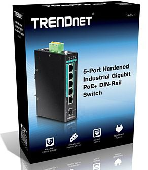 SWITCH TRENDNET TI-PG541 5-PUERTOS INDUSTRIAL GIGABIT POE+ DIN-RAIL